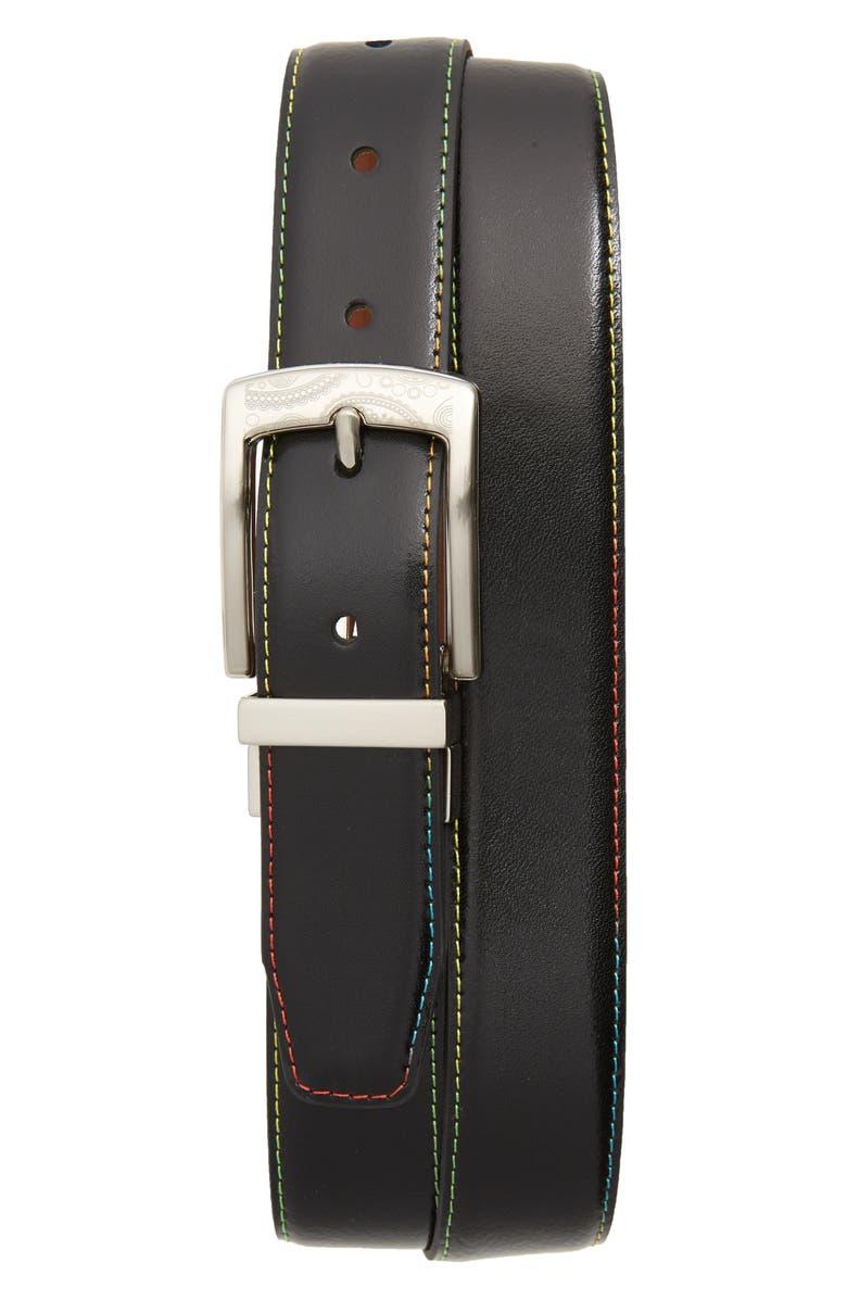 TALLIA Rainbow Stitch Belt, Main, color, BLACK/COGNAC