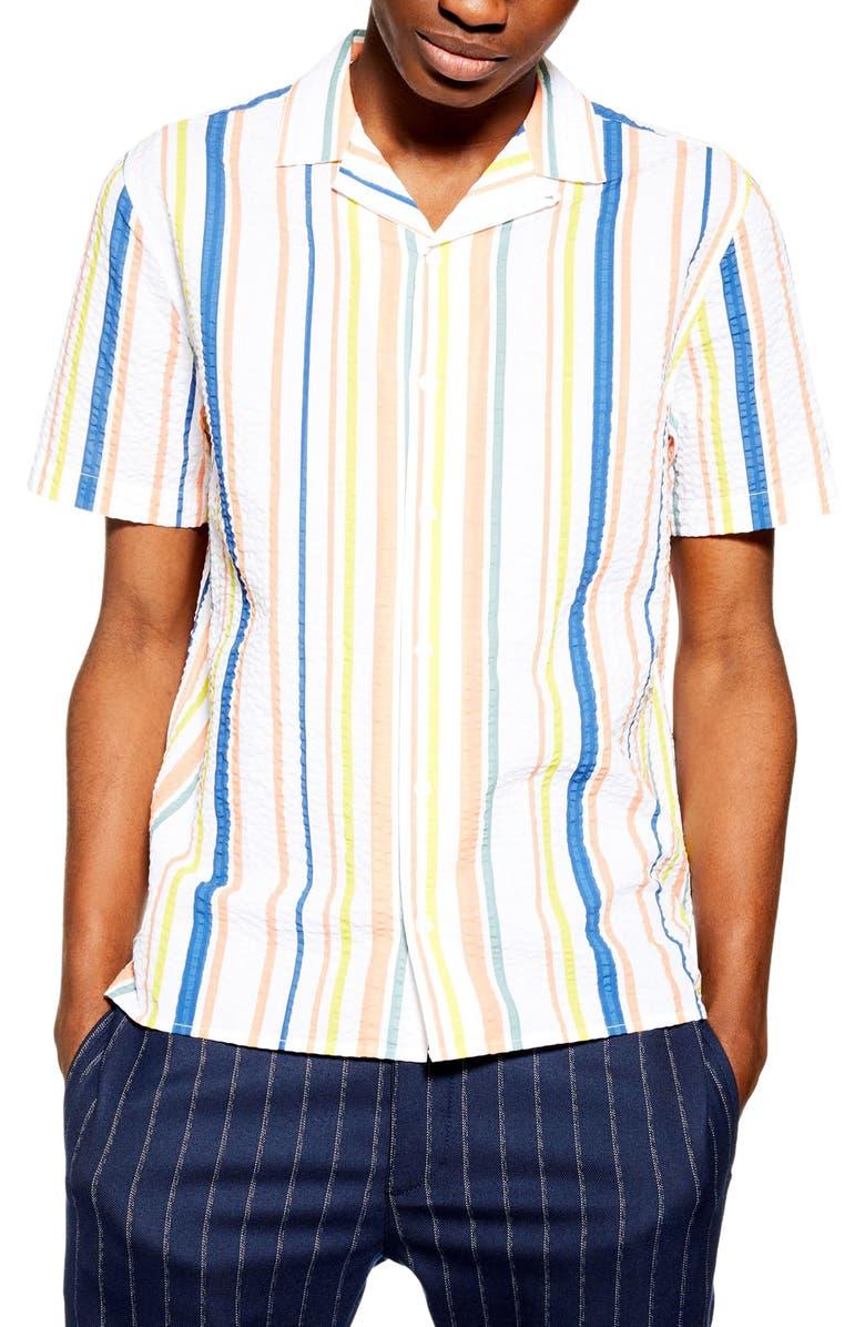 TOPMAN Stripe Seersucker Camp Shirt, Main, color, WHITE MULTI