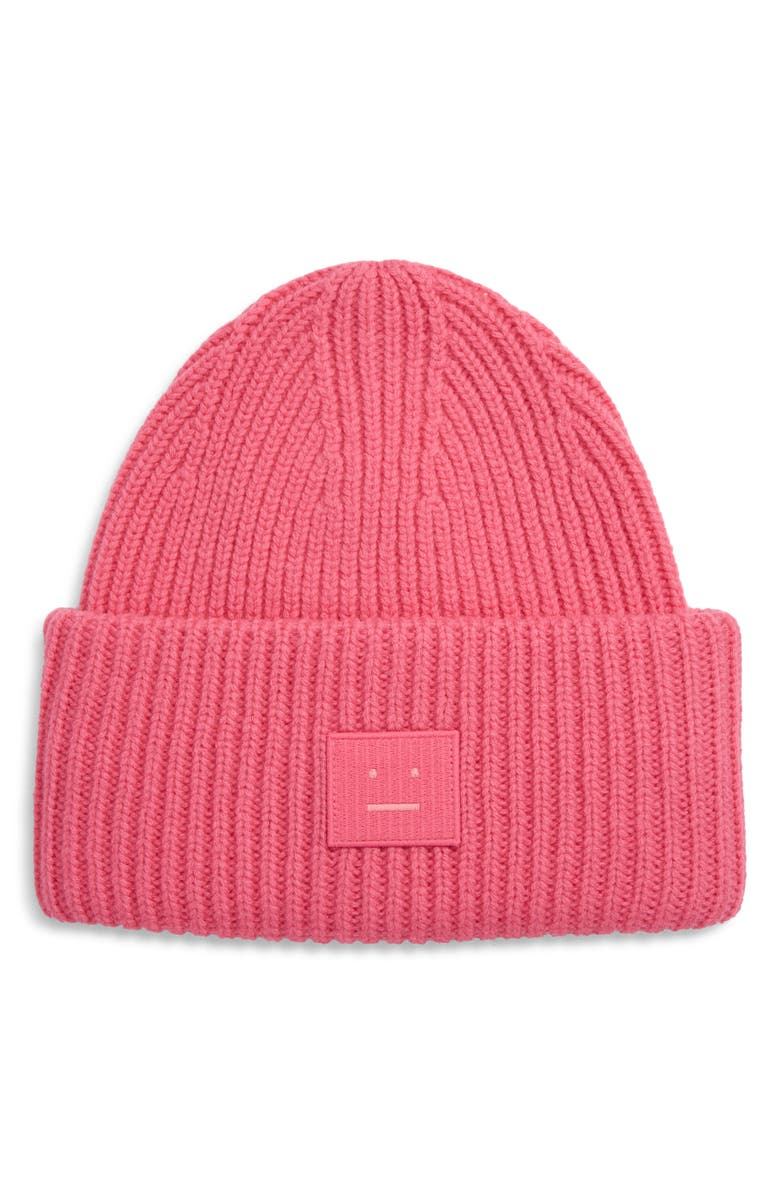 ACNE STUDIOS Pansy Face Patch Rib Wool Beanie, Main, color, BUBBLEGUM PINK