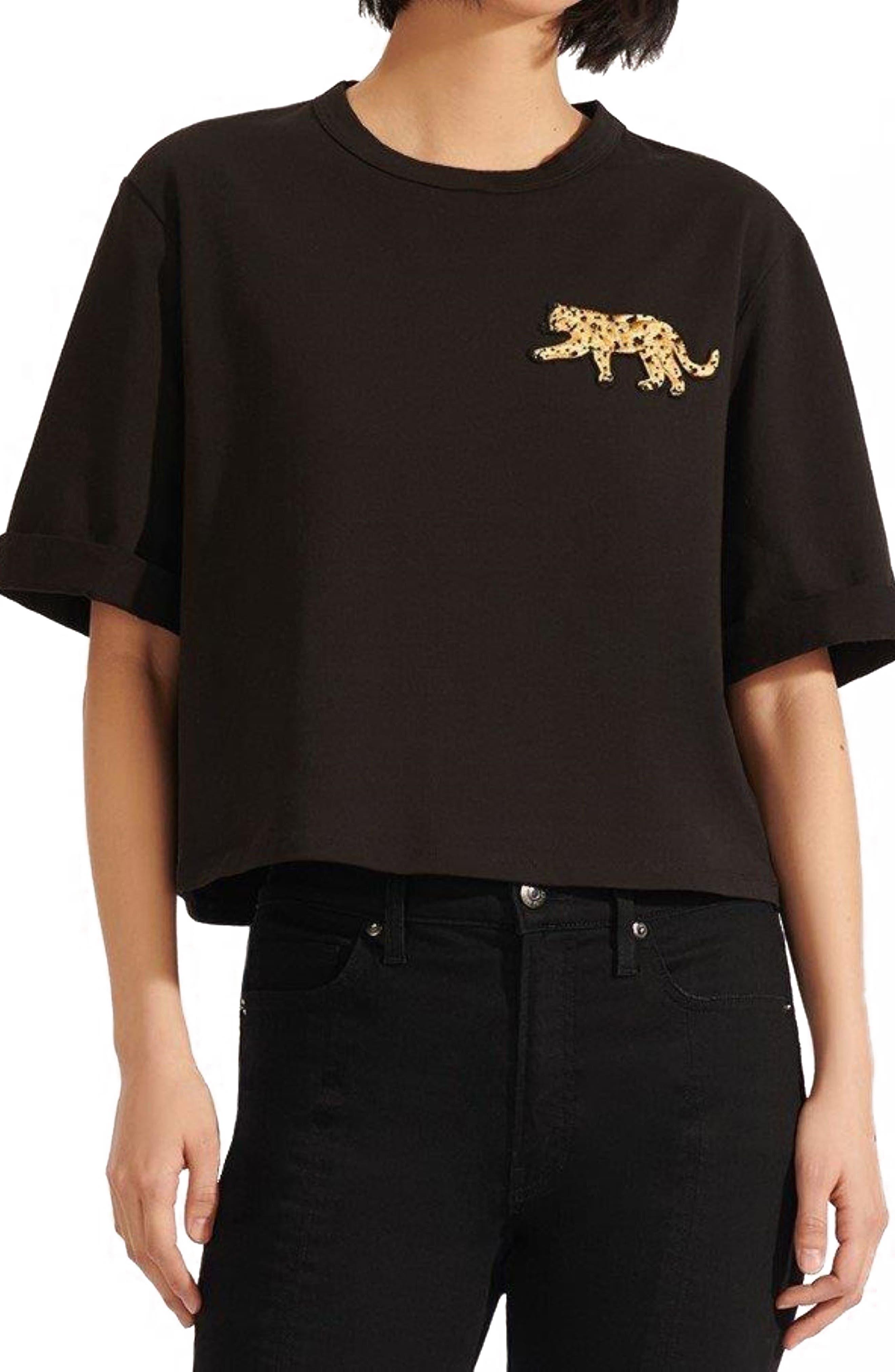 Veronica Beard Abby Sequin Patch Crop T-Shirt   Nordstrom