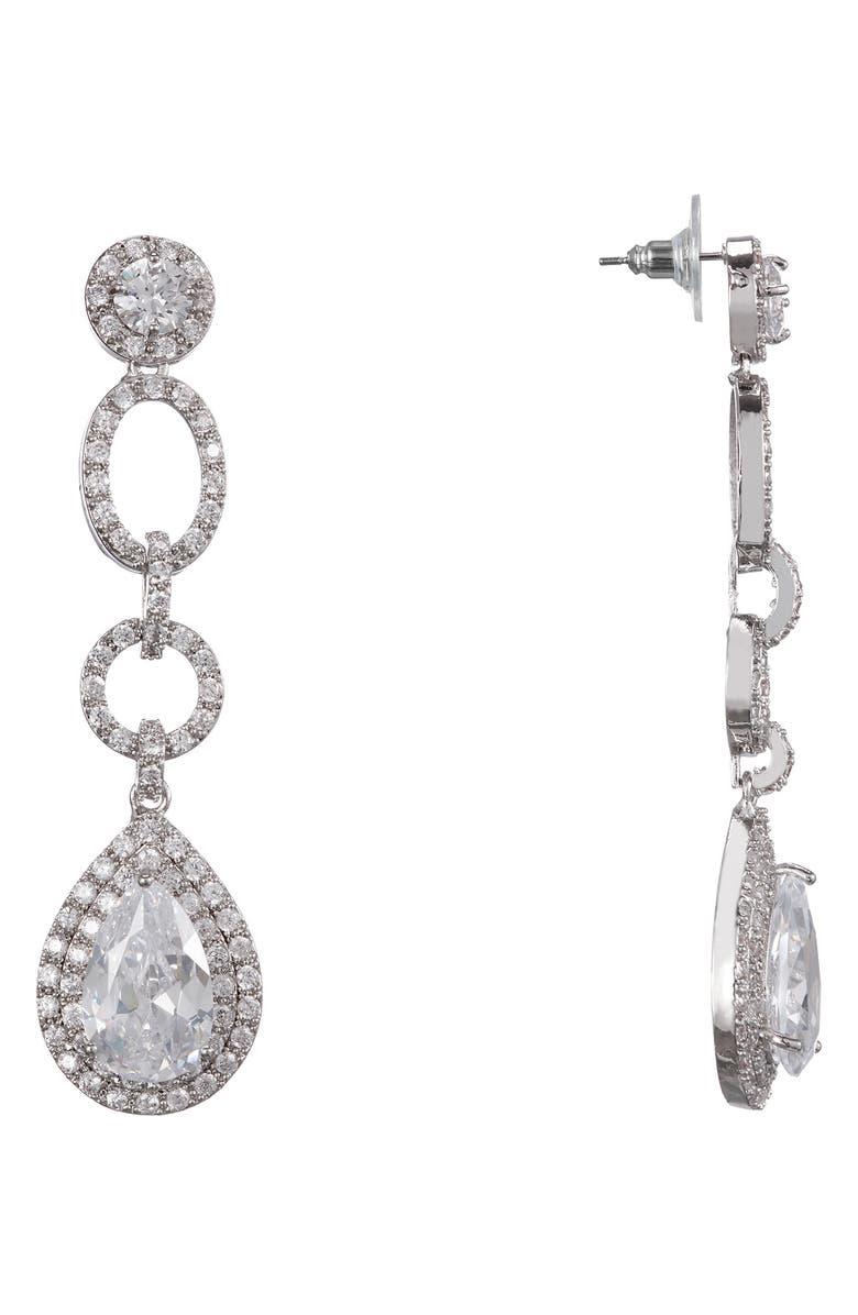 NINA Pavé Pear Drop Earrings, Main, color, RHODIUM/ WHITE CZ