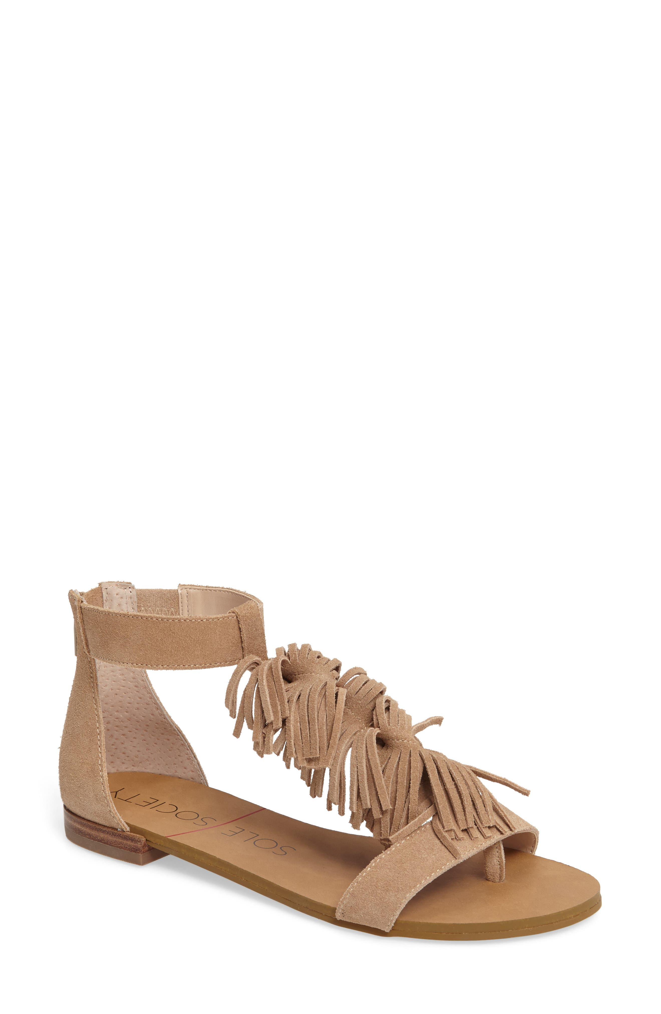 Koa Fringed T-Strap Sandal, Main, color, 200