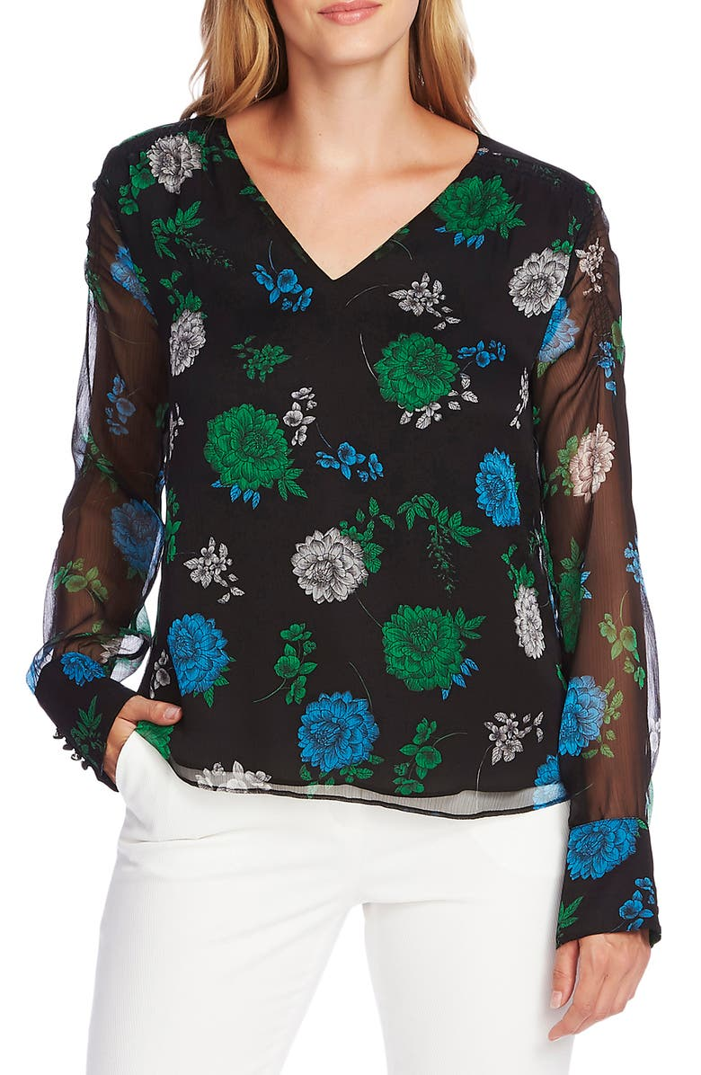 VINCE CAMUTO Floral Smocked Shoulder Chiffon Top, Main, color, RICH BLACK