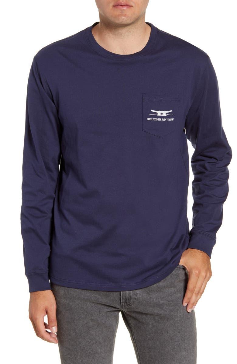 SOUTHERN TIDE Skipjack Rope Long Sleeve Pocket T-Shirt, Main, color, TRUE NAVY