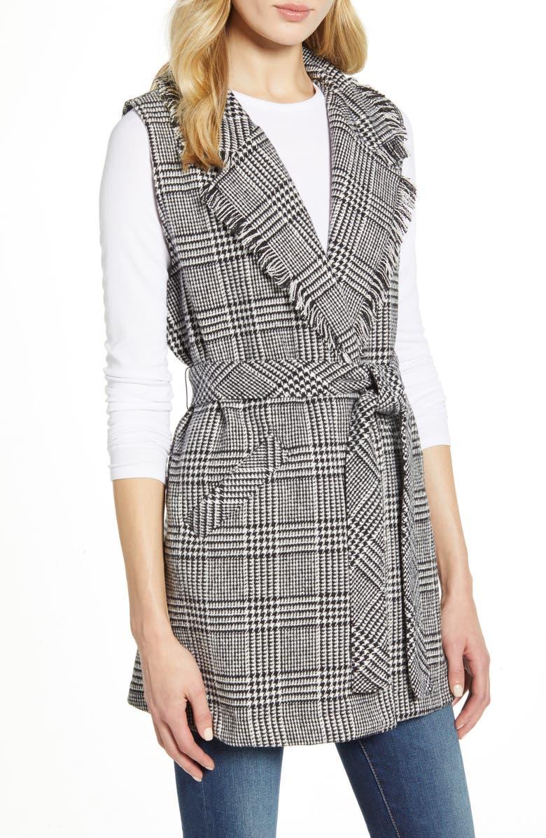 WIT & WISDOM Fringe Collar Belted Vest, Main, color, BLACK/ WHITE