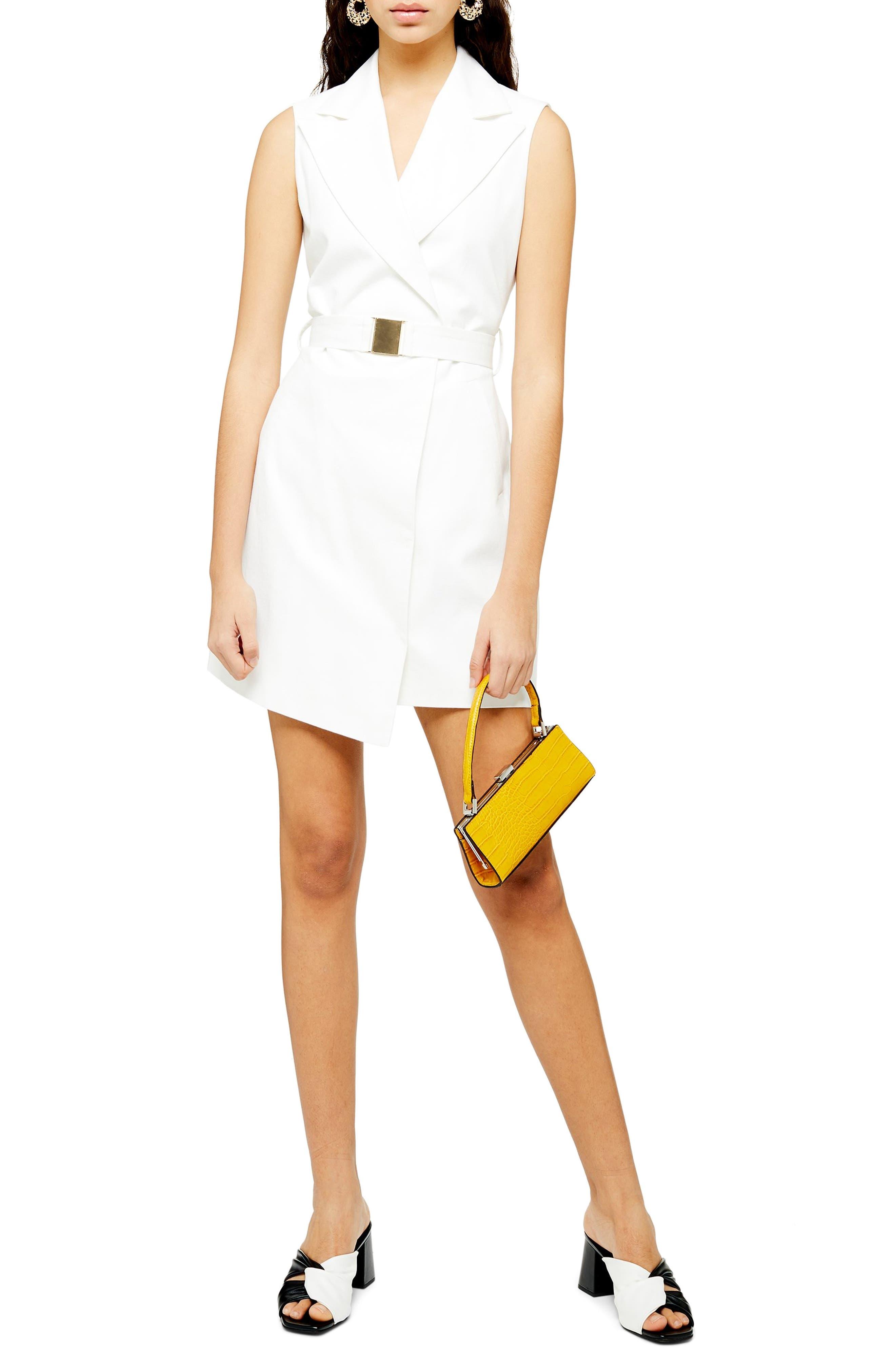 Topshop Belted Sleeveless Blazer Dress, US (fits like 2-4) - Ivory
