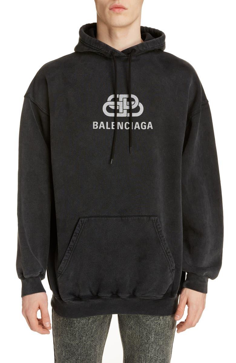 BALENCIAGA BB Logo Hooded Sweatshirt, Main, color, ANTHRACITE