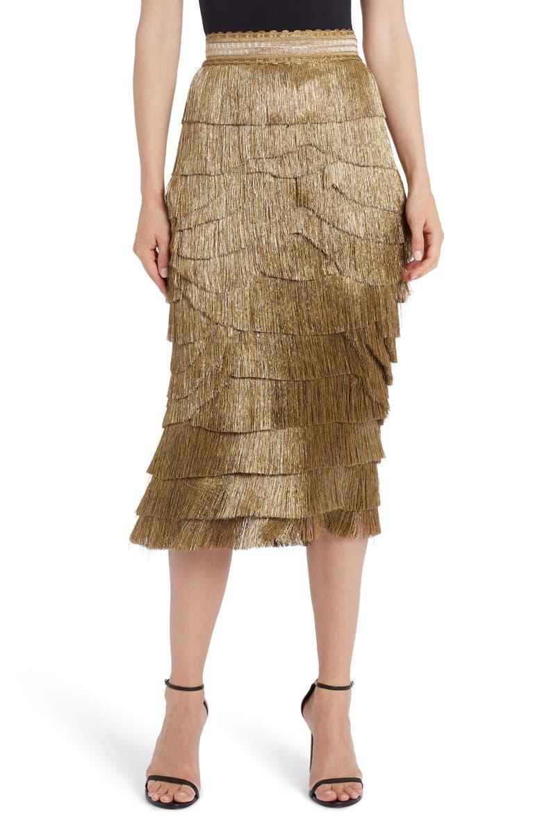 DOLCE&GABBANA Metallic Fringe Stretch Silk Midi Skirt, Main, color, 710