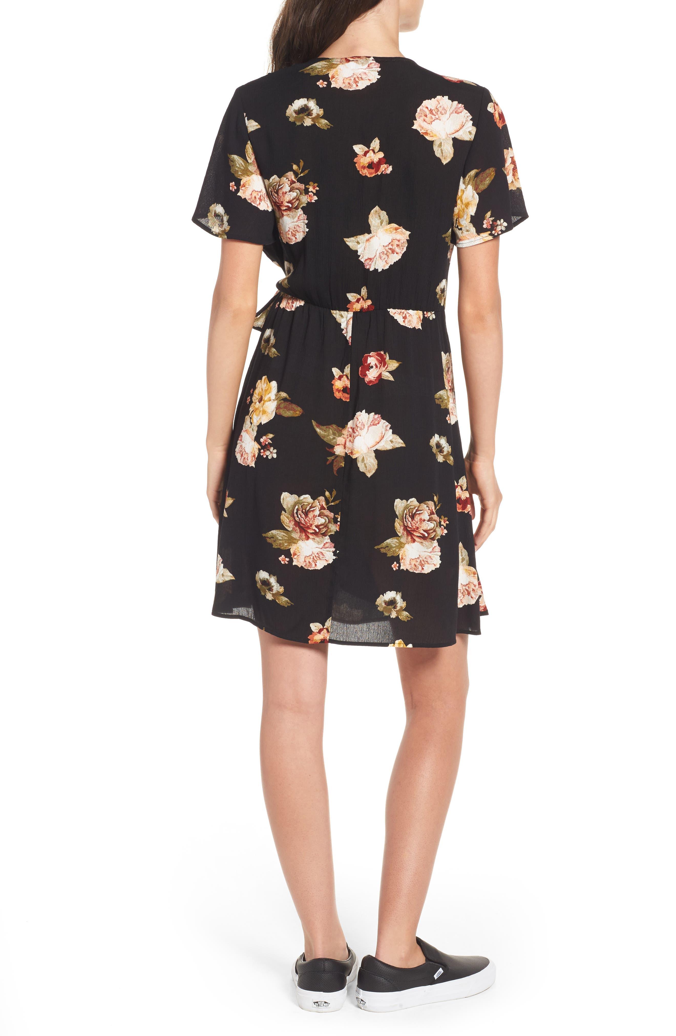,                             Floral Gauze Wrap Dress,                             Alternate thumbnail 2, color,                             001