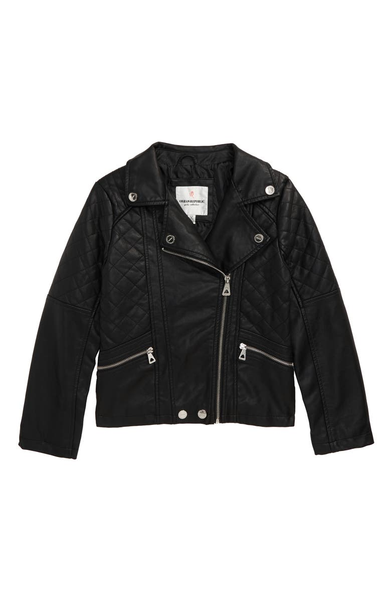 URBAN REPUBLIC Quilted Faux Leather Moto Jacket, Main, color, BLACK