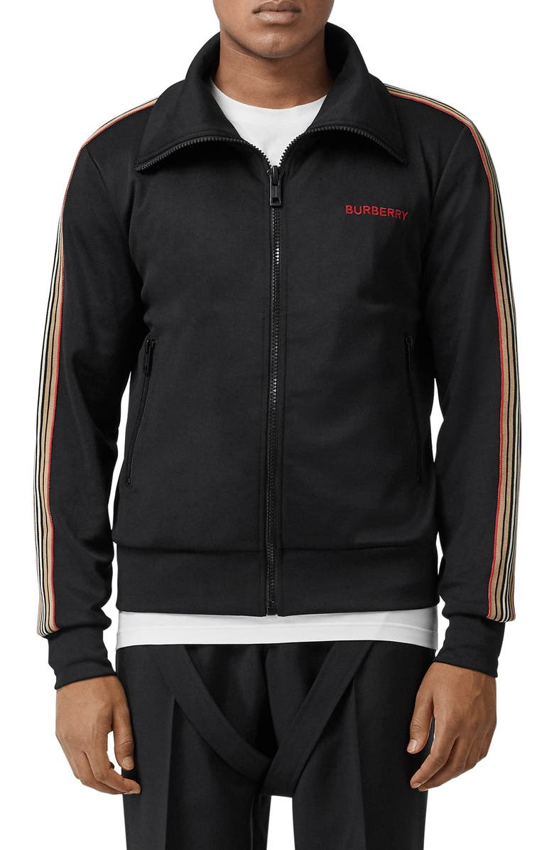 BURBERRY Silas Icon Stripe Track Jacket, Main, color, BLACK