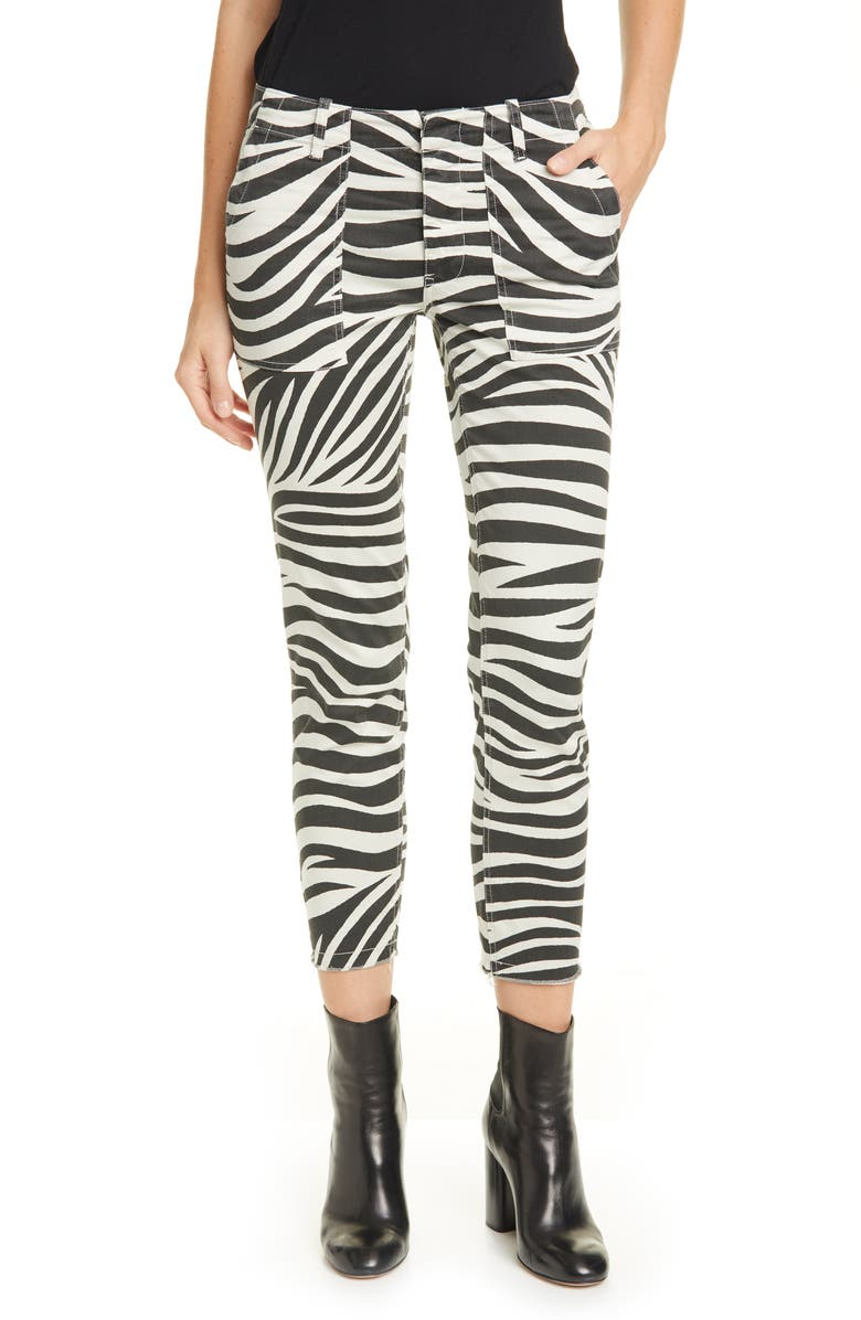 NILI LOTAN Jenna Tiger Print Crop Pants, Main, color, BONE TIGER PRINT