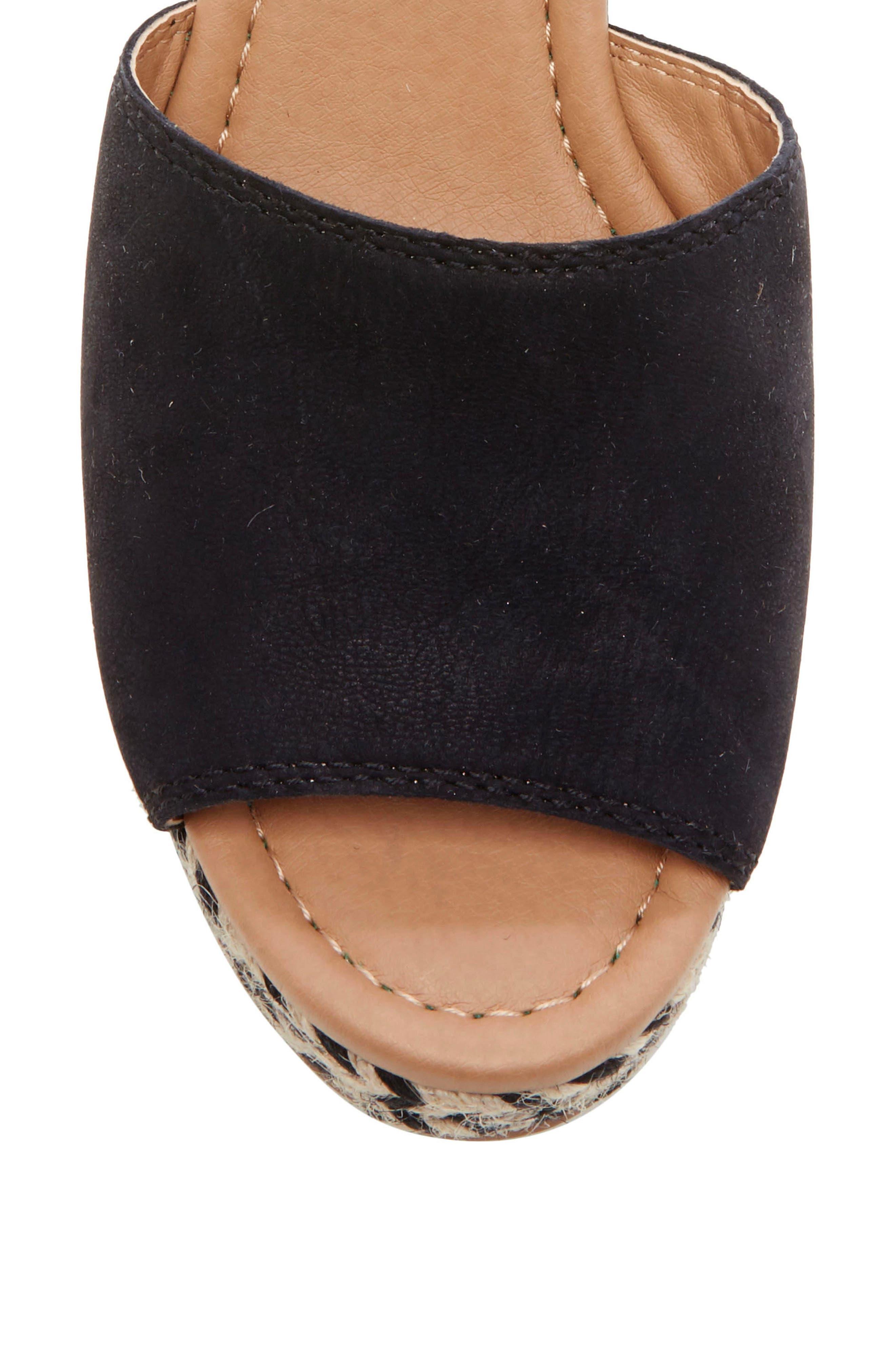 ,                             Bettanie Espadrille Wedge Sandal,                             Alternate thumbnail 8, color,                             BLACK LEATHER