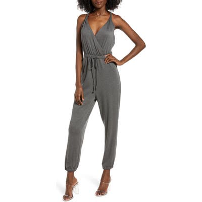 All In Favor Surplice Sleeveless Jumpsuit, Grey