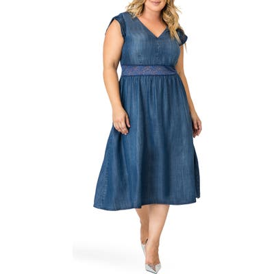 Plus Size Standards & Practices Rosaleen A-Line Dress, Blue