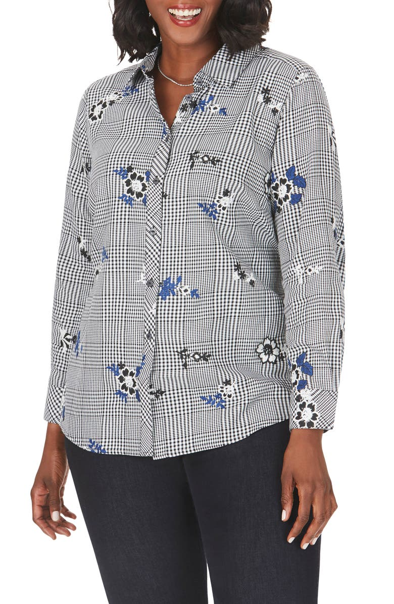 FOXCROFT Rhea Embroidered Glen Plaid Shirt, Main, color, BLACK
