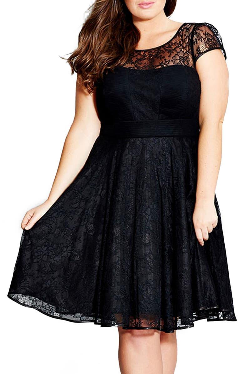CITY CHIC 'Audrey' Lace Fit & Flare Dress, Main, color, 001