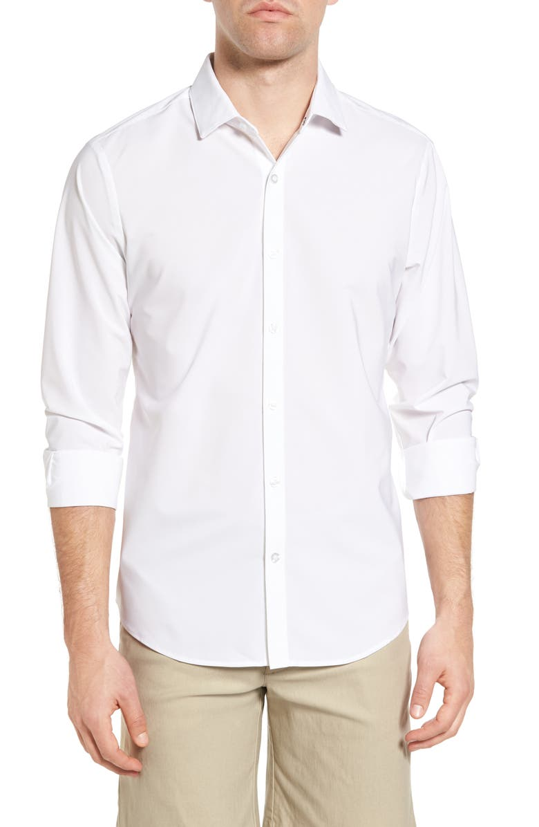 MIZZEN+MAIN Manhattan Trim Fit Shirt, Main, color, WHITE