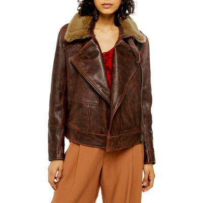 Topshop Shearling Collar Leather Jacket, US (fits like 2-4) - Brown