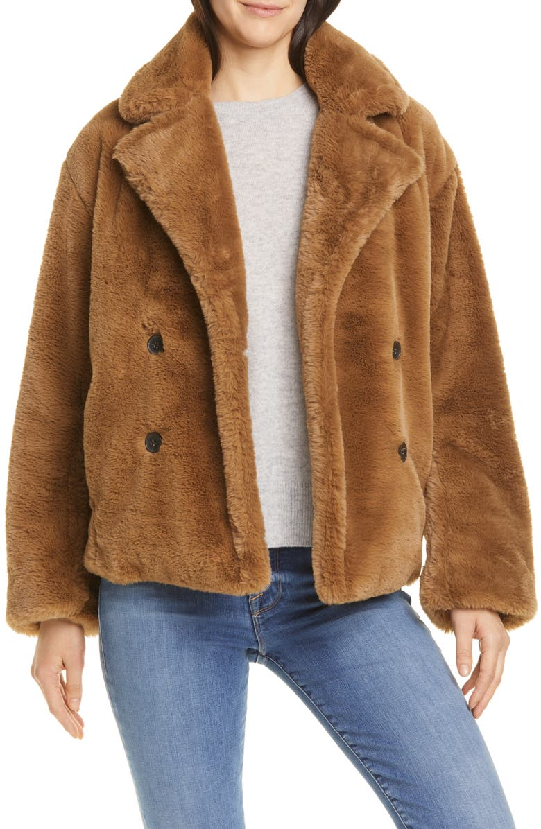 VINCE Double Breasted Plush Jacket, Main, color, WALNUT