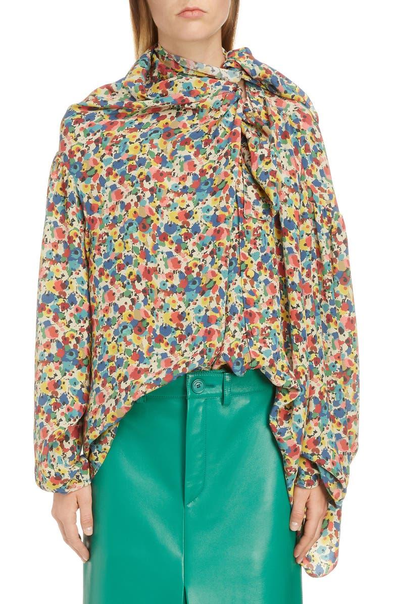 3af9a4b025bd1a Floral Print Silk Blouse, Main, color, MULTICOLOR