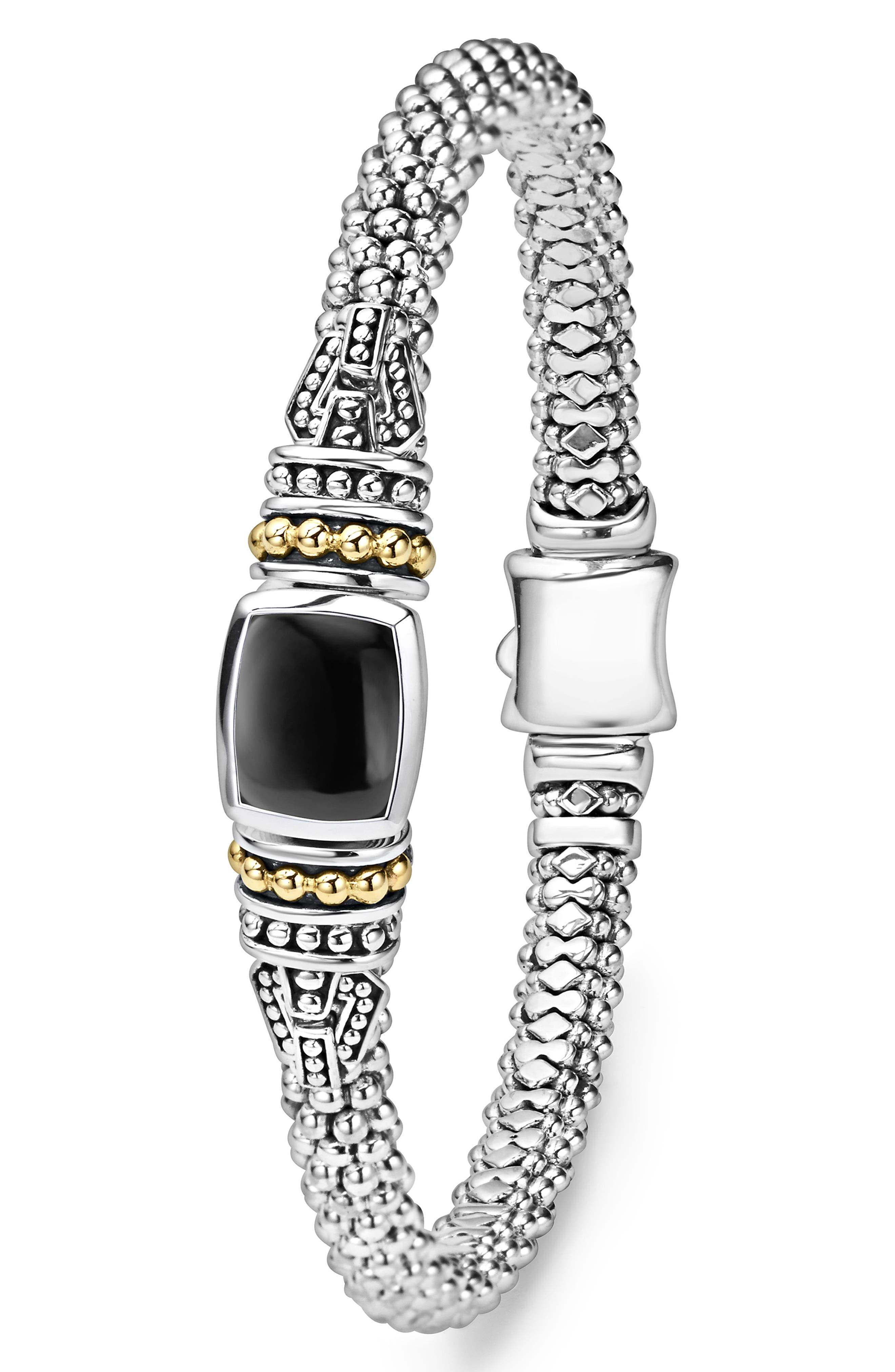 ,                             'Caviar Color' Semiprecious Stone Bracelet,                             Alternate thumbnail 3, color,                             BLACK ONYX