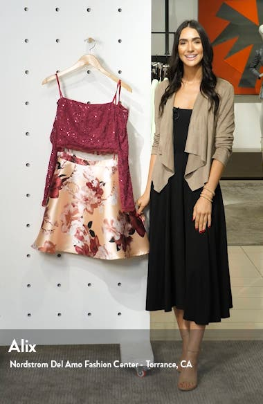 Sequin Lace & Mikado Long Sleeve Two-Piece Dress, sales video thumbnail