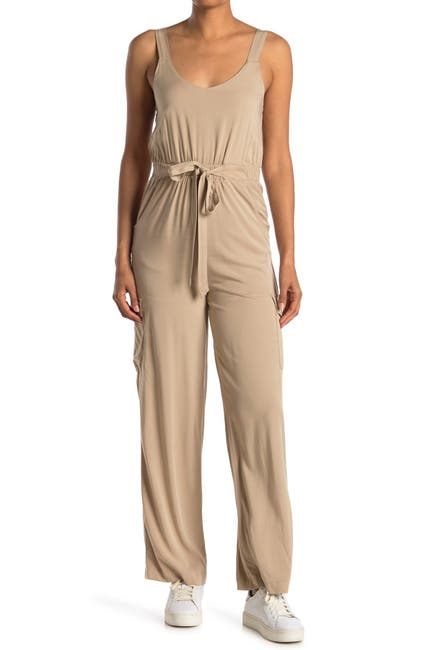 Image of Cloth By Design Stretch Tie Waist Jumpsuit