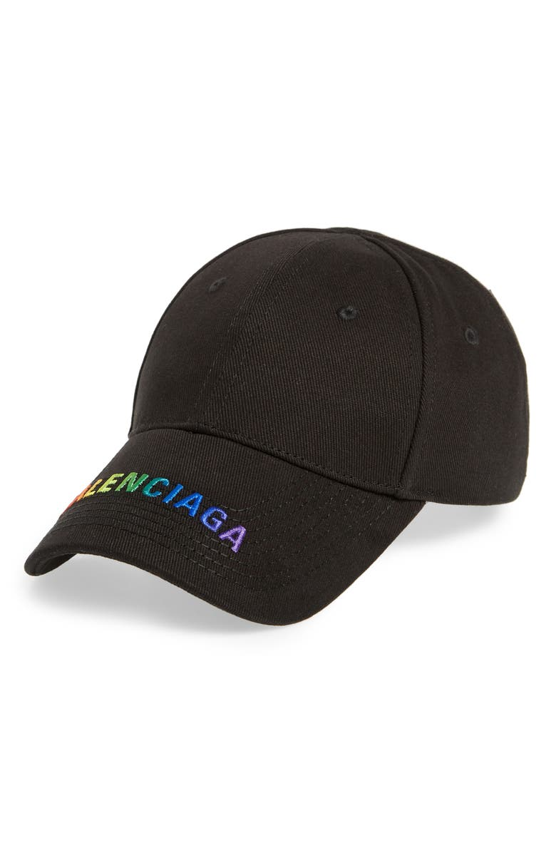 BALENCIAGA Rainbow Logo Baseball Cap, Main, color, BLACK/ MULTI
