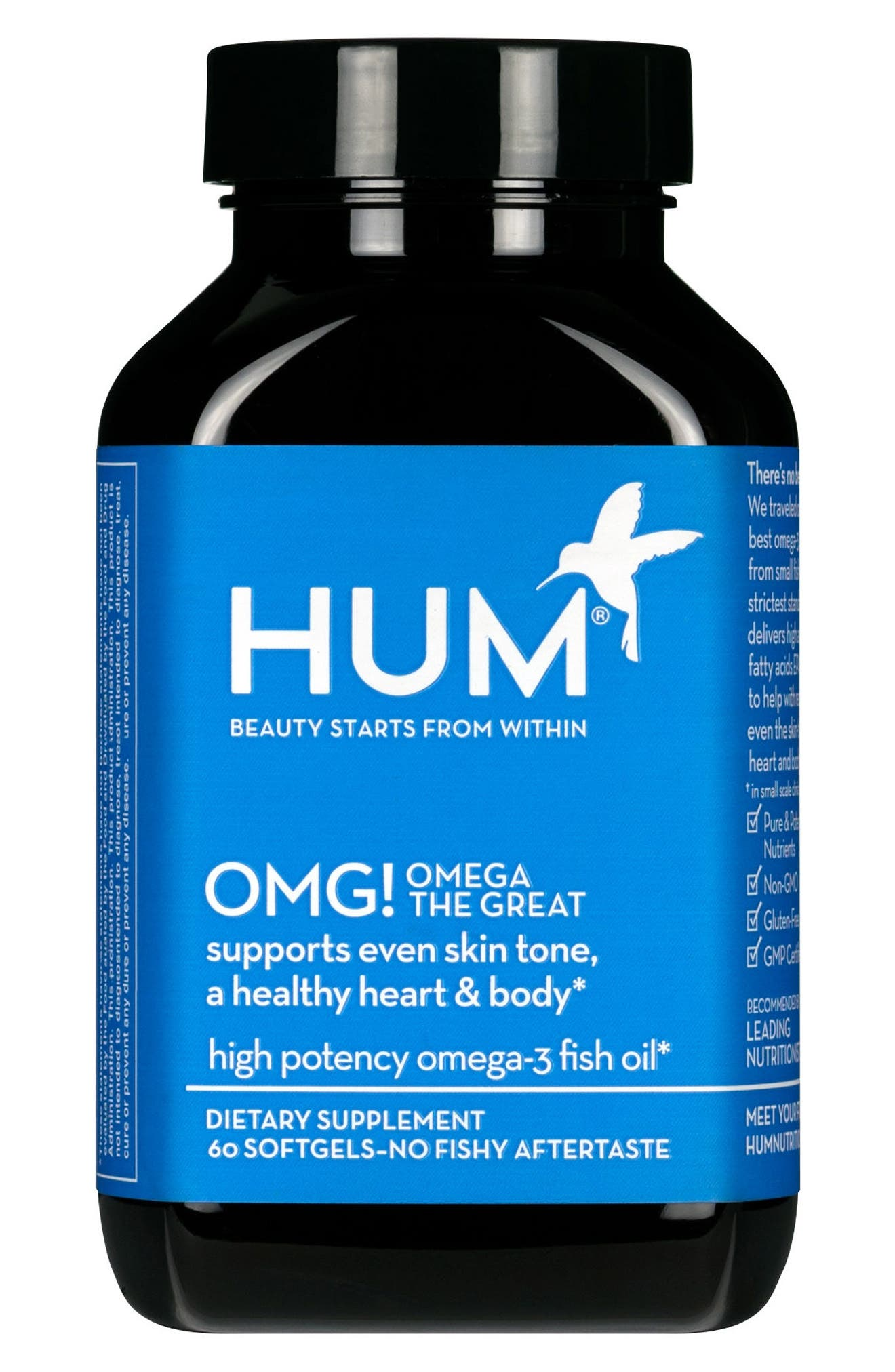 What it is: A fish oil capsule that supports even skin tone, a healthy heart and body, clear skin and hydration. What it does: All fish oils are not created equal, and Hum Nutrition went through some serious trouble to bring you the best fish oil in OMG! Omega the Great. This formula is sustainably sourced from small fish like sardines, mackerels and anchovies, surpassing the strictest purity standards. The omega-3s come in the highest form and