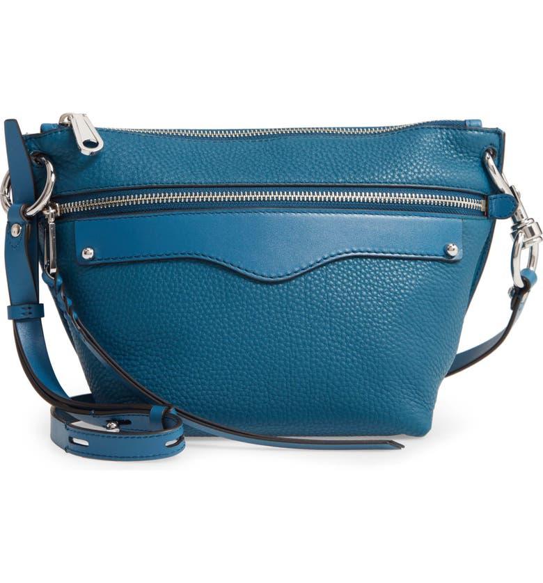REBECCA MINKOFF Hayden Leather Crossbody Bag, Main, color, LAKE BLUE
