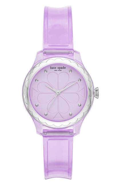 Image of kate spade new york women's purple jelly strap stainless steel watch, 32mm
