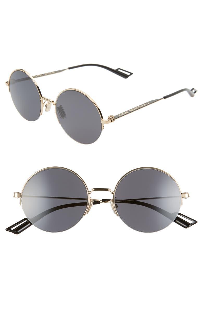 DIOR 53mm Round Sunglasses, Main, color, GOLD BLACK/ GRAY BLUE