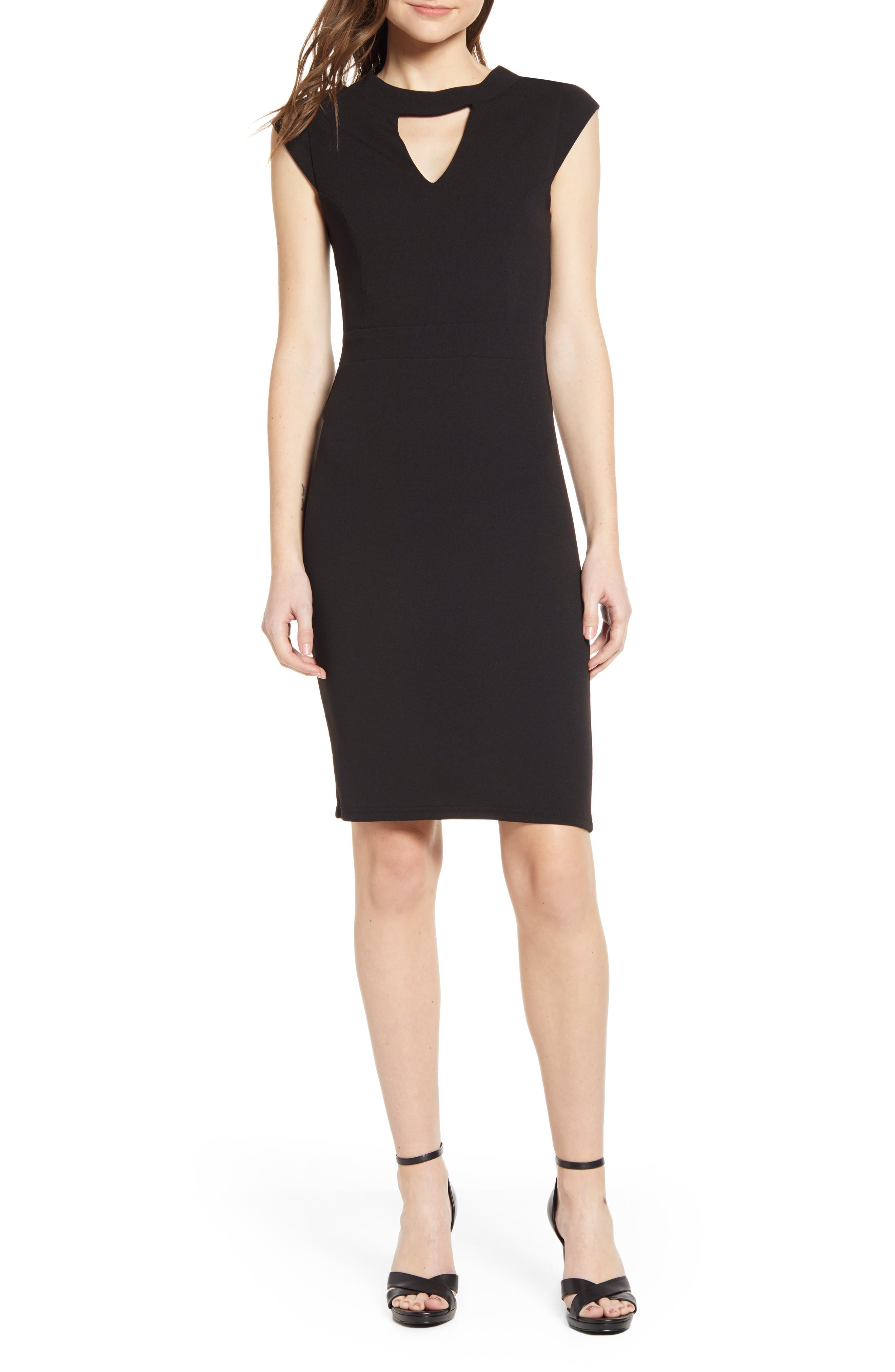 Sentimental Ny Victorious Keyhole Body-Con Dress, Black