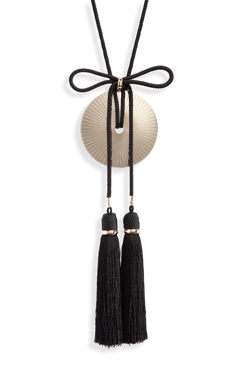 SAINT LAURENT Loulou Tassel Fringe Pendant Necklace, Main, color, BRASS/ BLACK