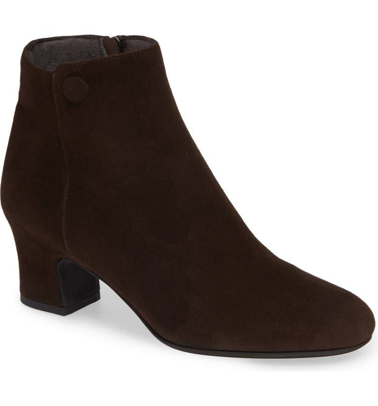 PAS DE ROUGE Alfa Bootie, Main, color, BROWN WATERPROOF SUEDE