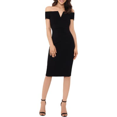 Xscape Off The Shoulder Ruched Dress, Black
