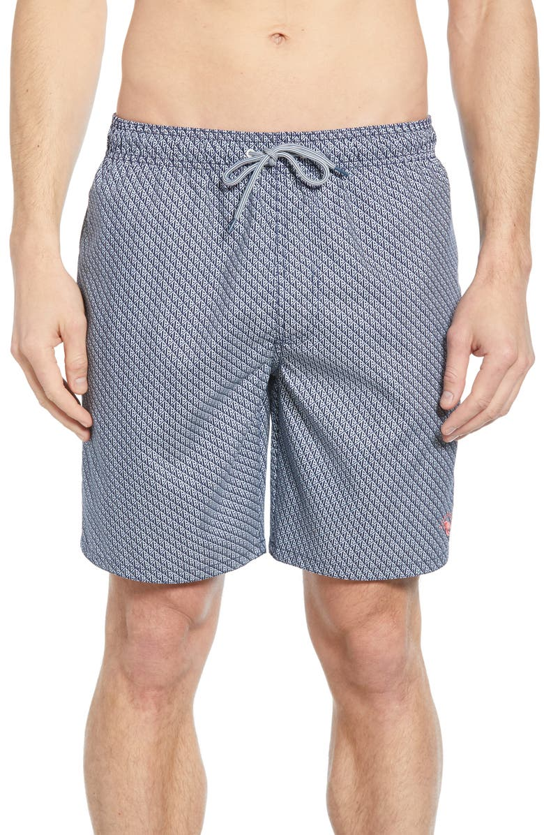 TED BAKER LONDON Flags Swim Trunks, Main, color, NAVY