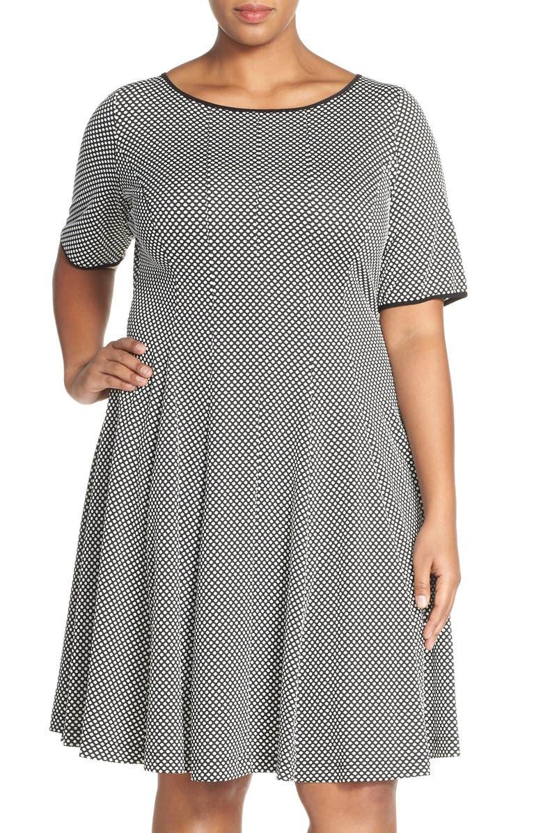 Gabby Skye Elbow Sleeve Jacquard Knit Fit Amp Flare Dress