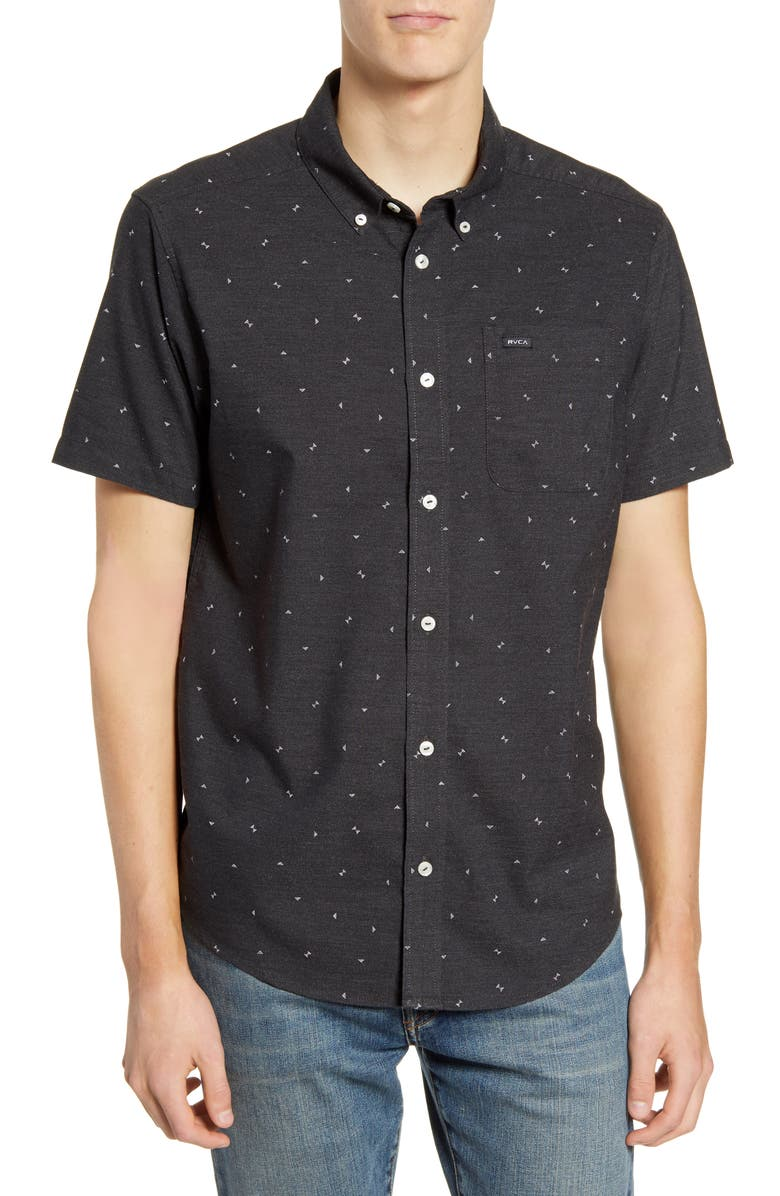 RVCA That'll Do Geo Print Woven Shirt, Main, color, 012