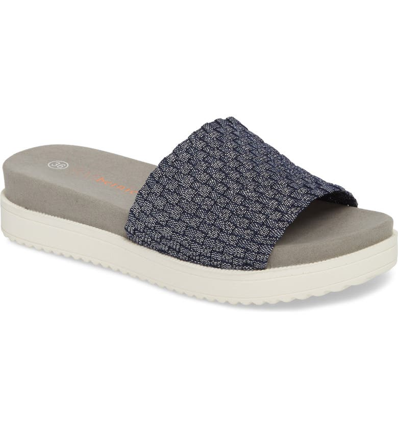 BERNIE MEV. Capri Slide Sandal, Main, color, NAVY SHIMMER FABRIC