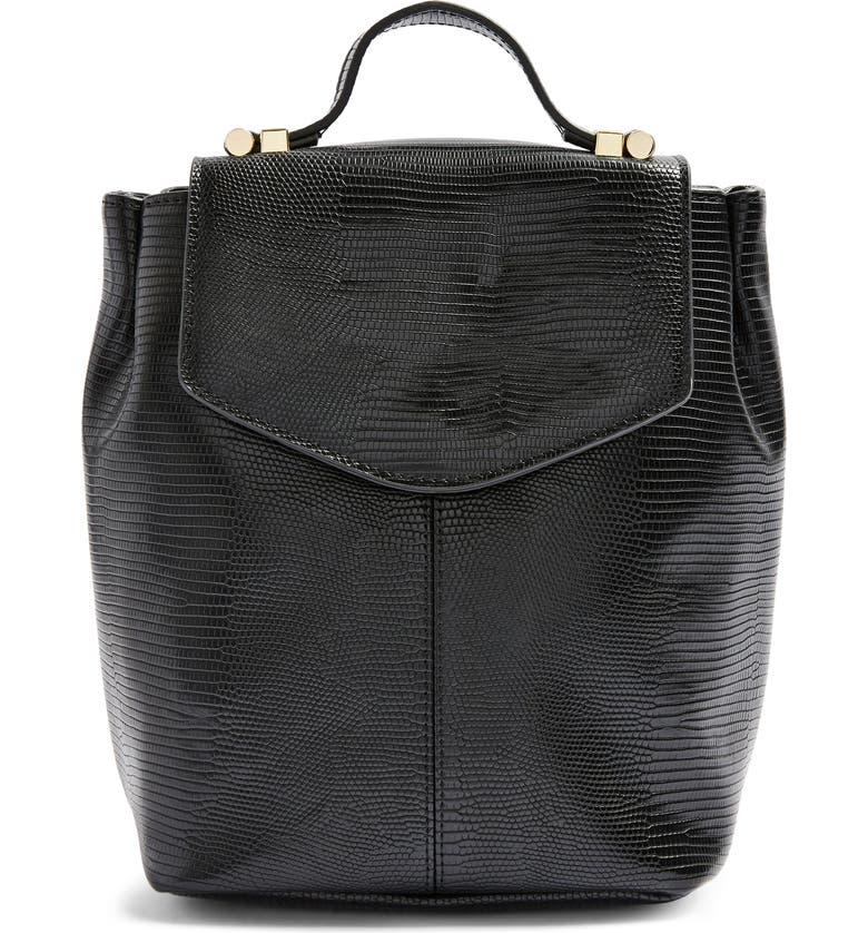 TOPSHOP Beck Faux Leather Backpack, Main, color, 001