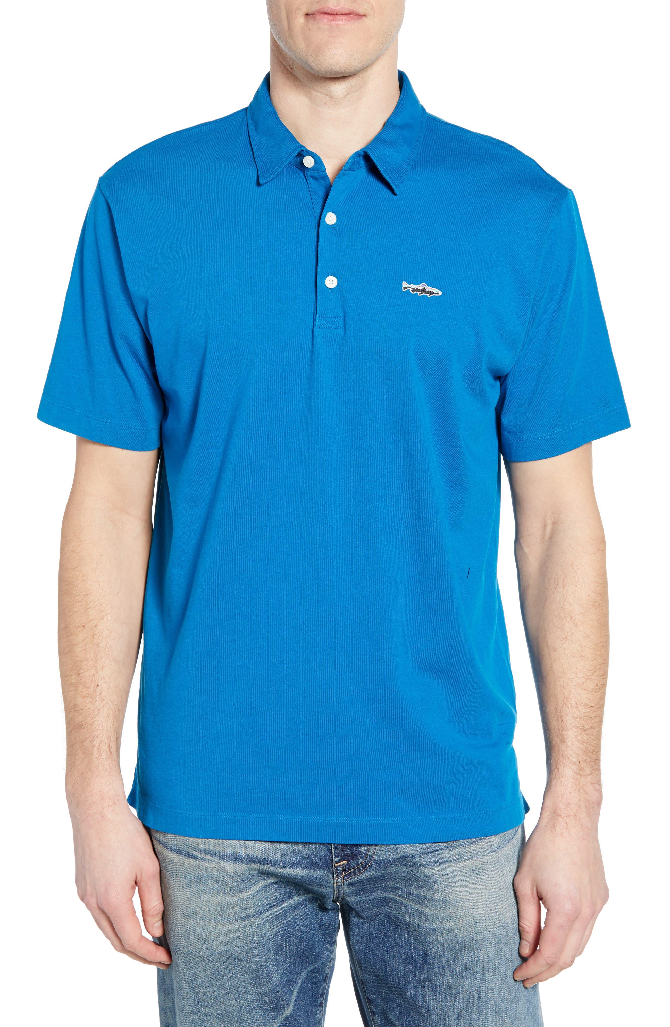 ,                             Trout Fitz Roy Regular Fit Organic Cotton Polo,                             Main thumbnail 1, color,                             BALKAN BLUE