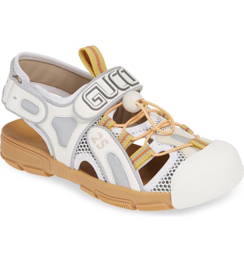 GUCCI Tinsel Sport Sandal, Main, color, WHITE