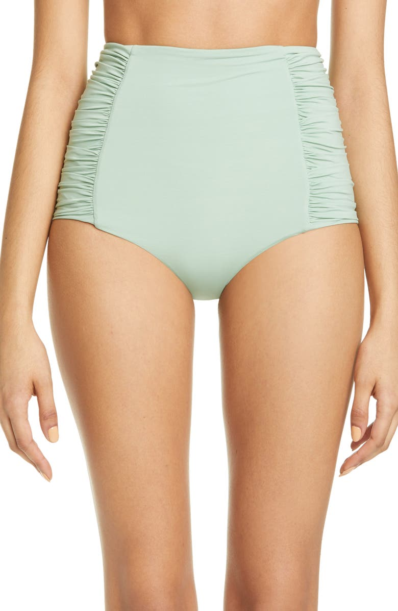 JOHANNA ORTIZ Ruched High Waist Bikini Bottoms, Main, color, 300