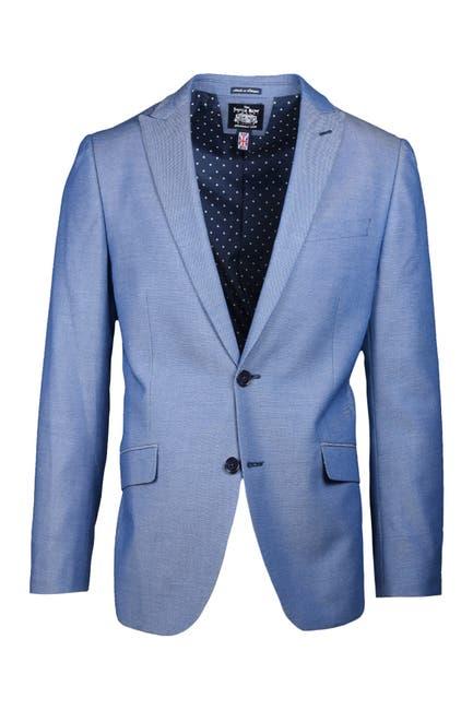 Image of SAVILE ROW CO Light Blue Peak Lapel Slim Fit Textured Blazer