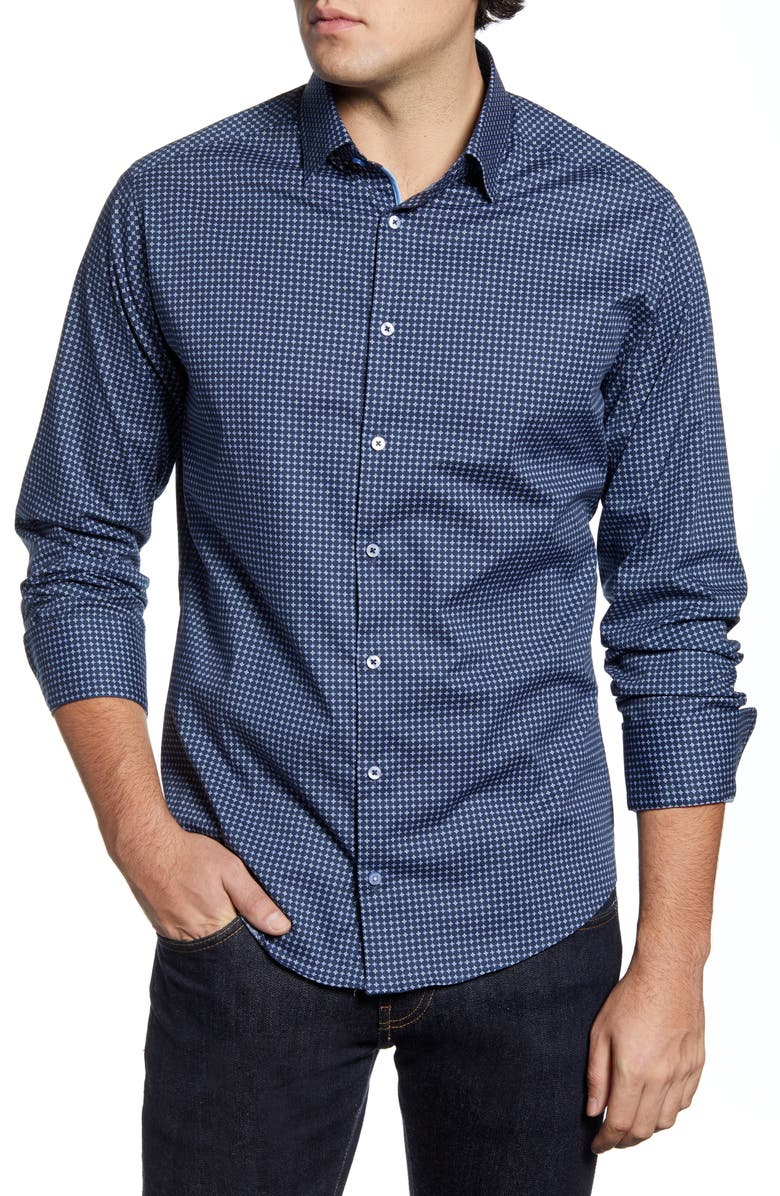 STONE ROSE Slim Fit Button-Up Performance Shirt, Main, color, NAVY