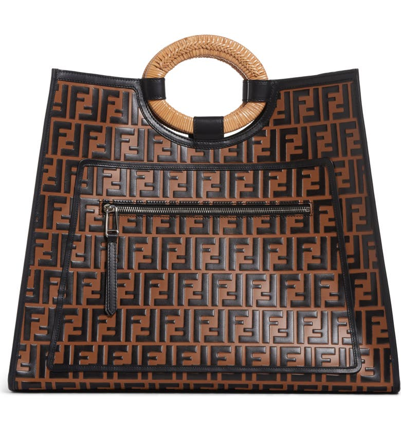 194f7e0f Fendi Runaway Logo Leather Shopper | Nordstrom