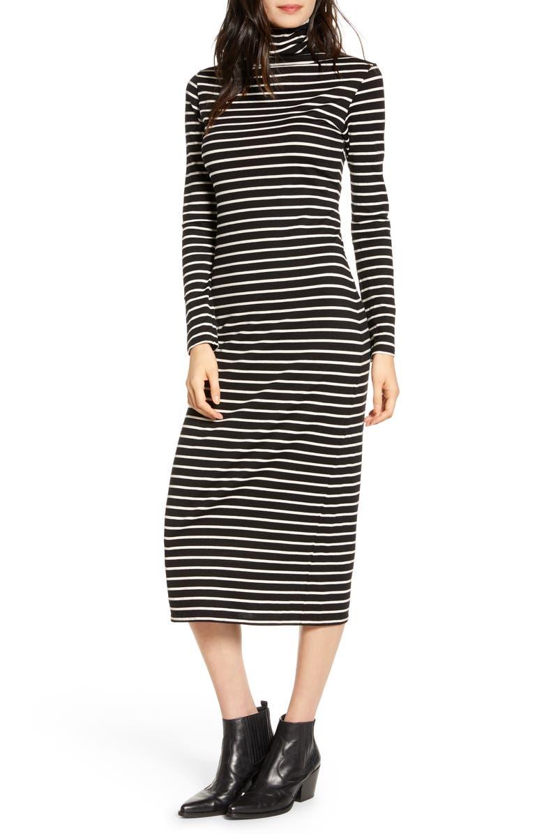 AG Chelden Long Sleeve Turtleneck Midi Dress, Main, color, TRUE BLACK/ IVORY DUST