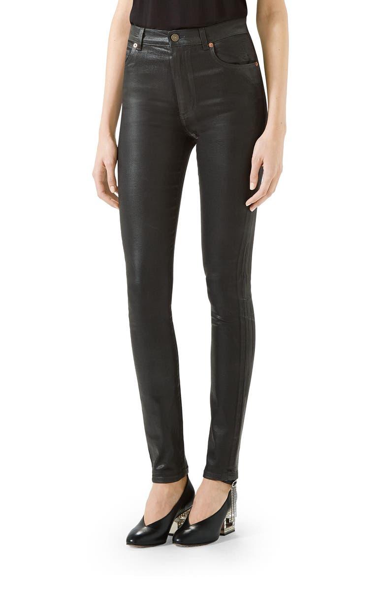 GUCCI Coated Denim Skinny Jeans, Main, color, BLACK